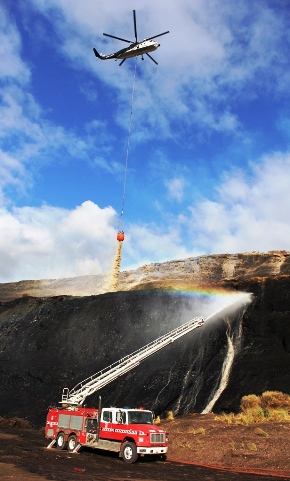 Helicopter drop on Hazlewood coal fire. CFA photo.