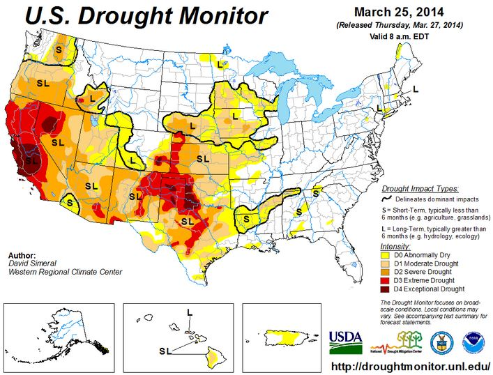 Drought Monitor March 25, 2014