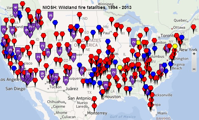NIOSH Fire Fighter Fatality Map, 1994- 2013