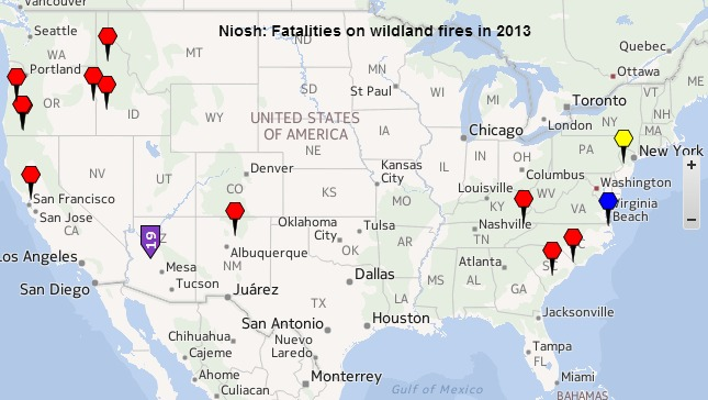 NIOSH Fire Fighter Fatality Map, 2013