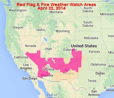 wildfire Red Flag Warnings, April 22, 2014
