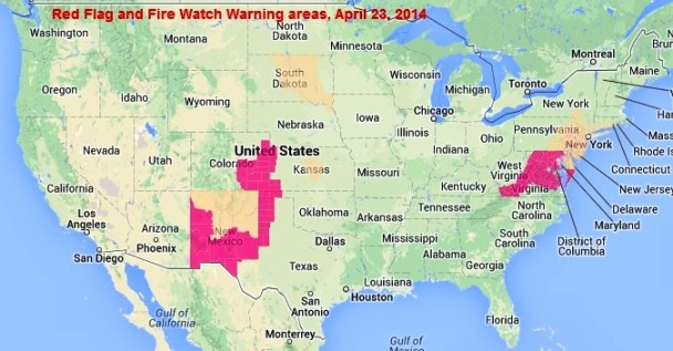 wildfire Red Flag Warnings, April 23, 2014