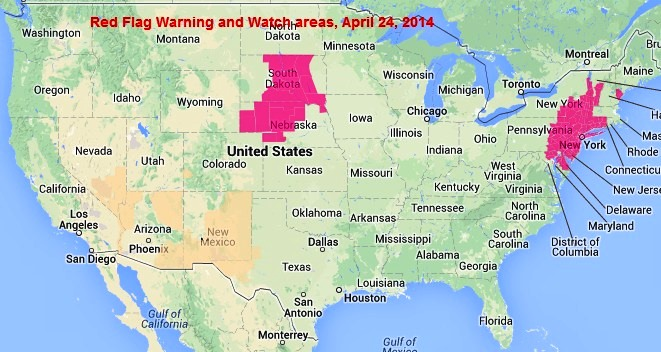 Wildfire Red Flag Warnings, April 24, 2014