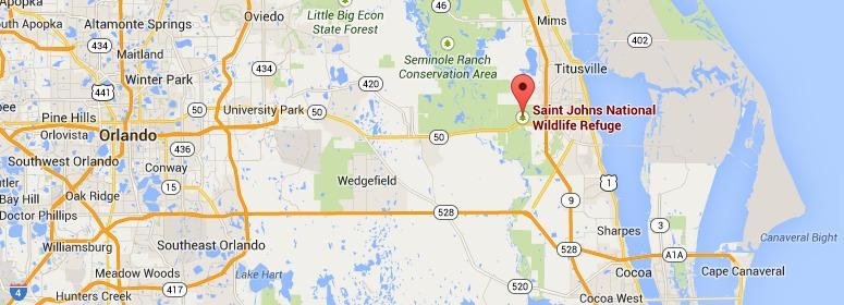 Saint Johns National Wildlife Refuge, map