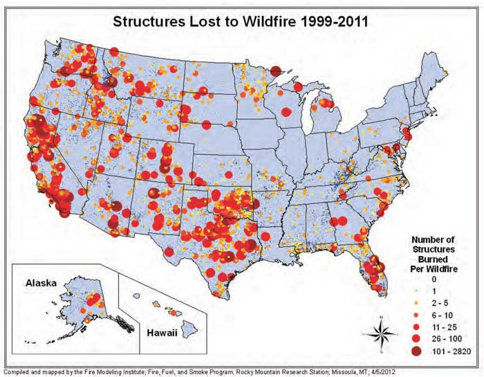 Map showing where structures have burned in wildfires – Wildfire Today