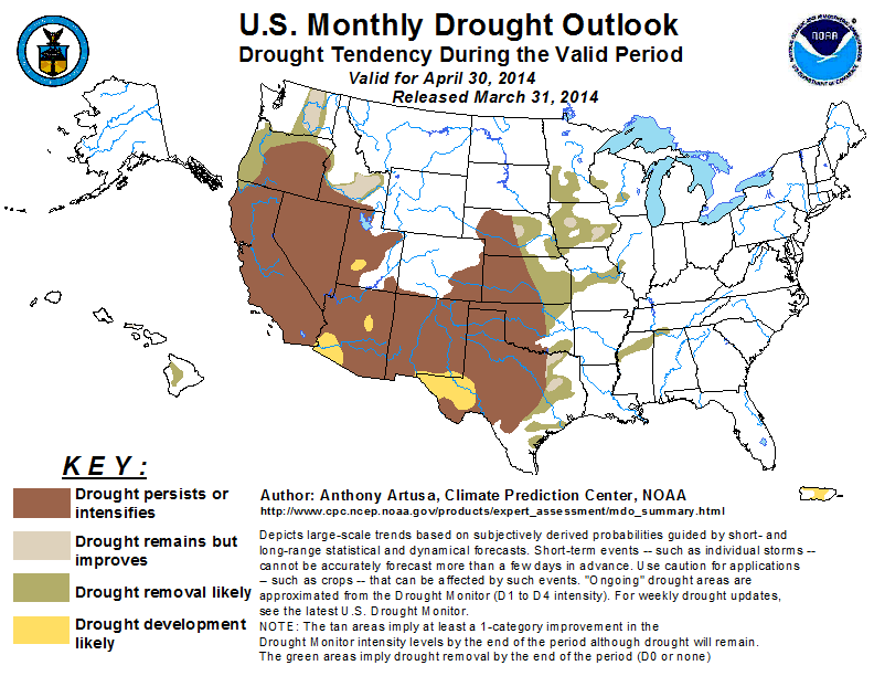 Monthly drought outlook, April 30, 2014