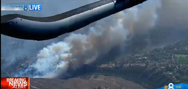 Bernardo Fire, image from live cam, 349 pm PDT, May 13, 2014