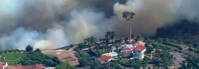 Bernardo Fire, image from live cam, 509 pm PDT, May 13, 2014