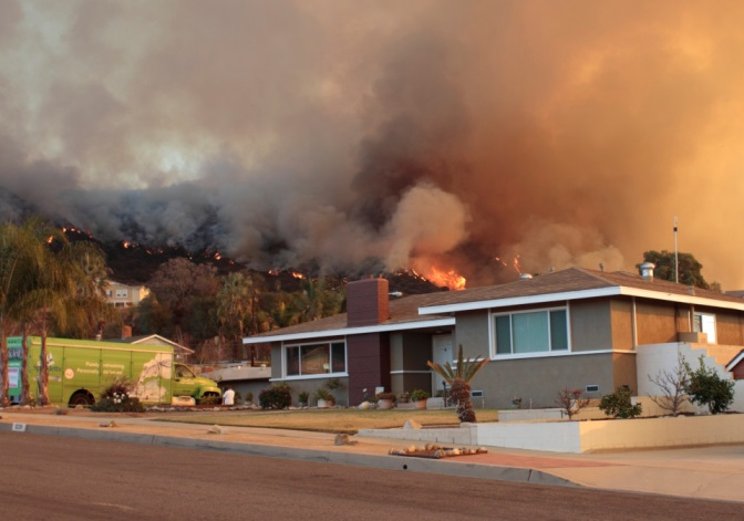 Home threatened by the Colby fire east of Los Angeles, January 17, 2014.  Photo by John Stimson.