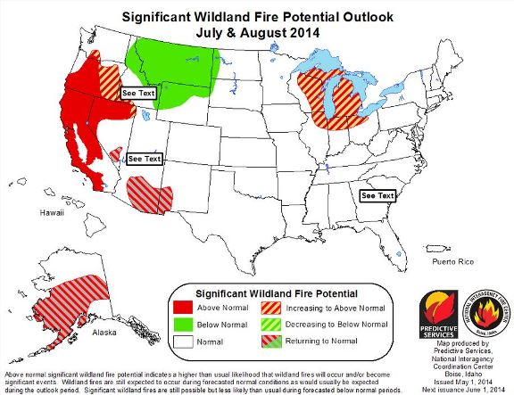 July-August 2014 wildfire outlook