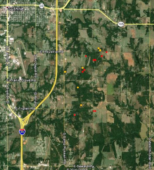 Map of fire near Guthrie, OK 250 pm CT May 5, 2014