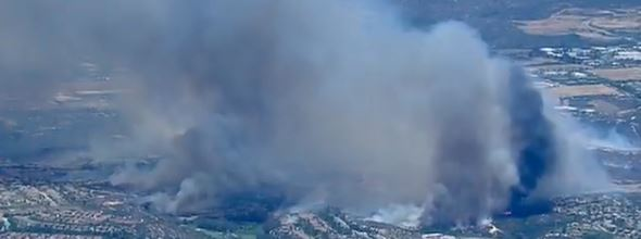 Poinsettia Fire, screen grab from Fox TV at 120 pm PDT, May 14, 2014