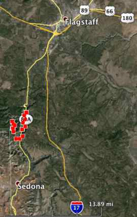 Map showing heat detected on the Slide Fire (the red squares) by a satellite at 2:50 a.m. Arizona time, May 21, 2014.