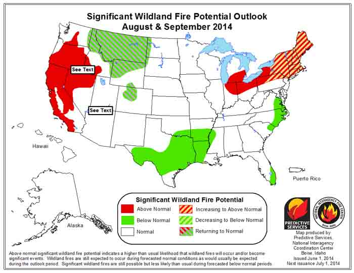 Wildfire potential, August-September, 2014