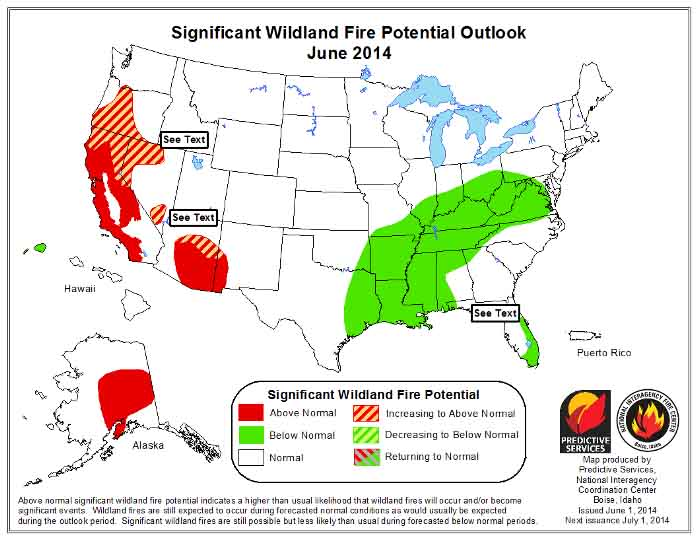 Wildfire Potential,  June, 2014