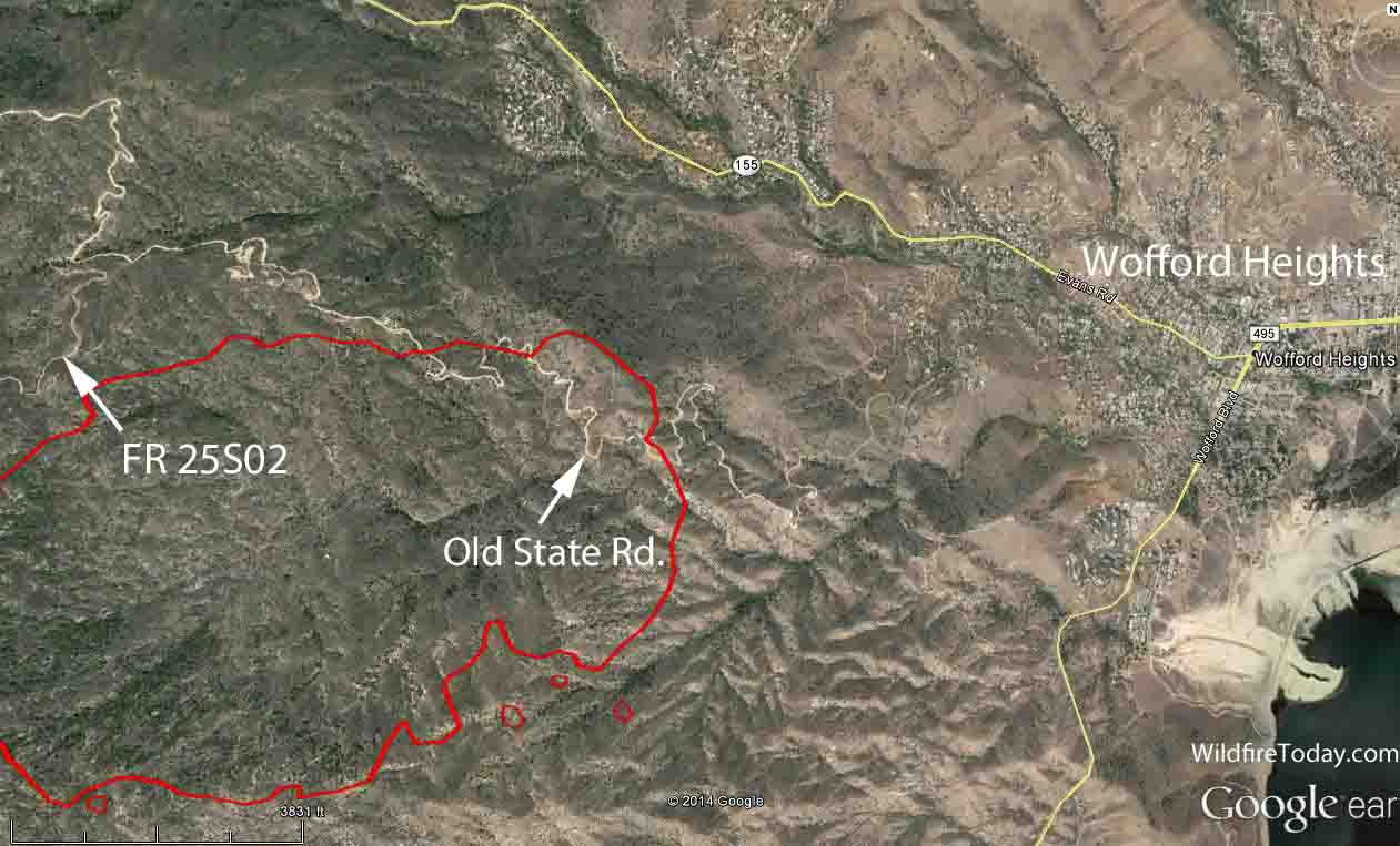 Map, east side of the Shirley Fire
