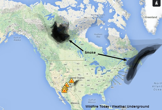 Smoke in Canada and US