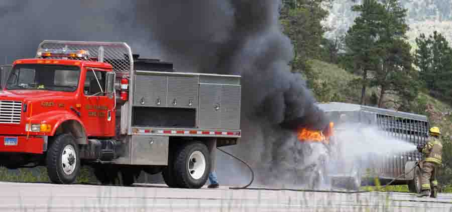 Vehicle fire Hwy 18