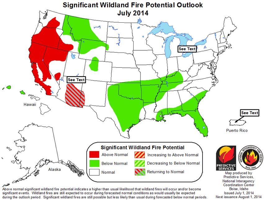July wildfire potential