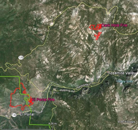 Map of the El Portal and Dark Hole Fires