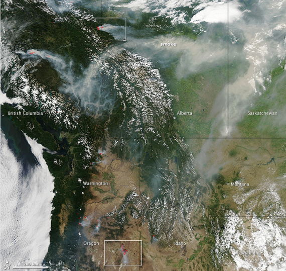 North American wildfires seen from space--NASA Earth Observatory