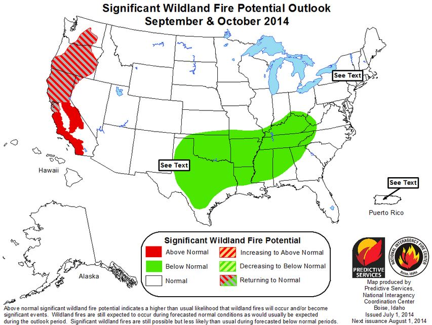 September October wildfire potential