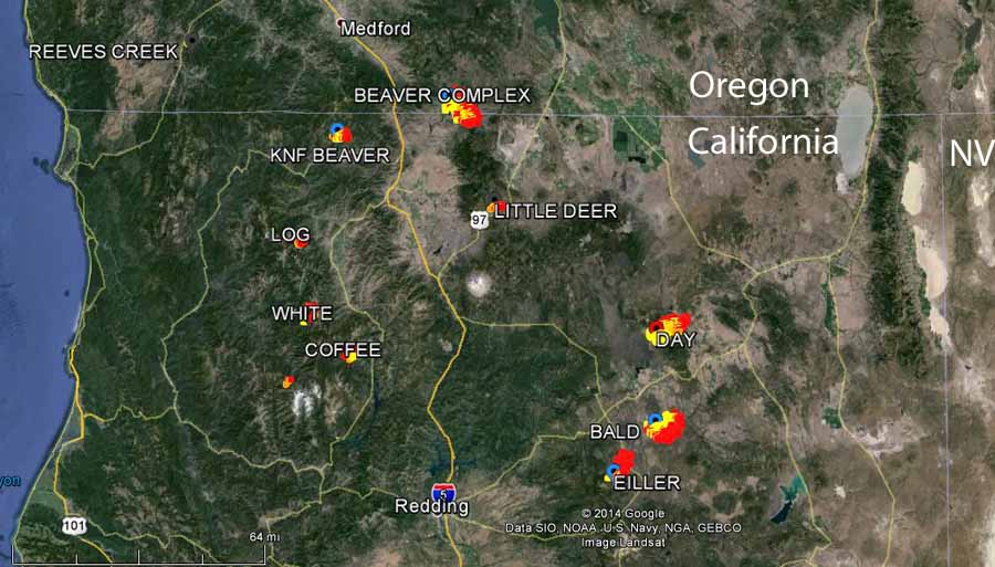 The fires in Northern California and Southern Oregon on August 2, 2014. (Photo Credit: Wildfire Today)