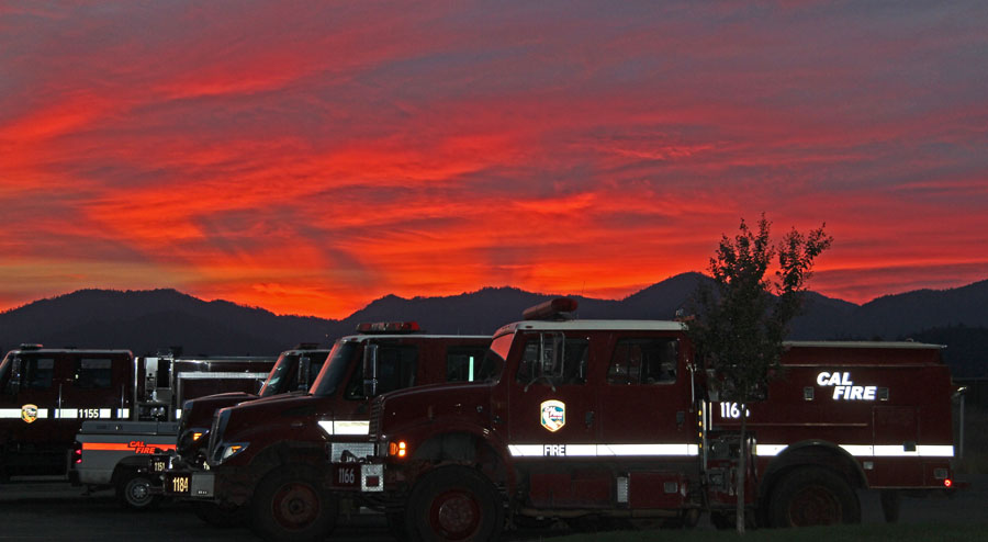 Redding, CA sunset CAL FIRE engines.