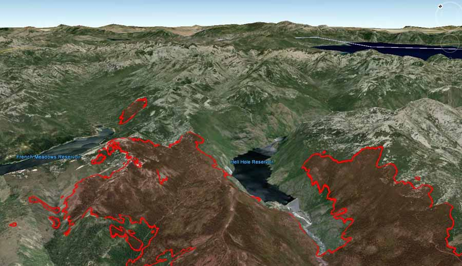 3-D map of the northeast end of the King Fire, looking northeast at 12:30 a.m. September 20, 2014. Lake Tahoe can be seen at the upper right.