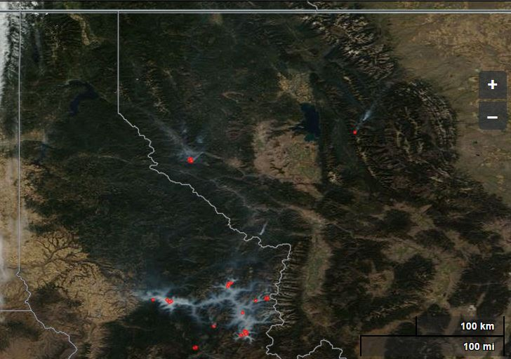 Satellite photo of fires in N ID and NW MT 9-25-2014