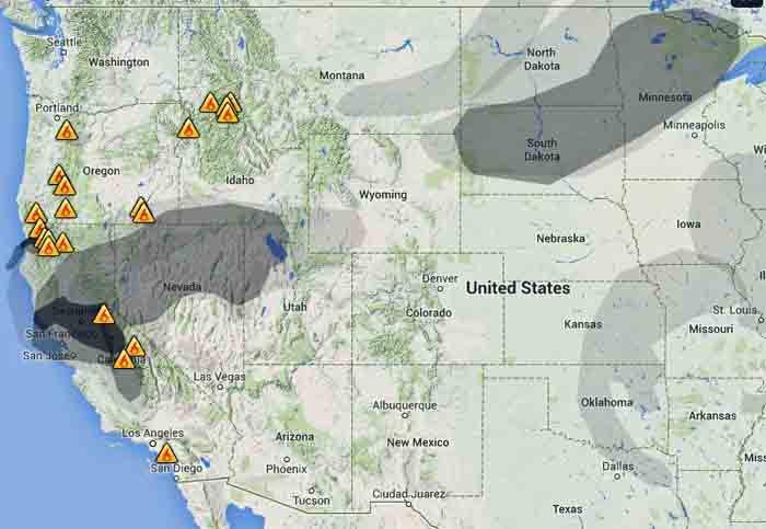 wildfire Smoke map, 9-19-2014