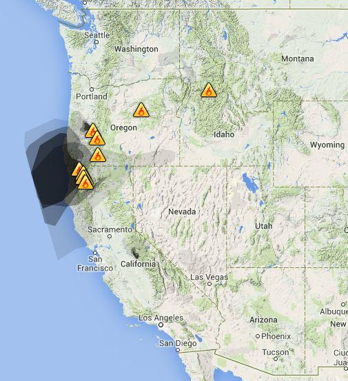 wildfire Smoke map, Sept 6, 2014