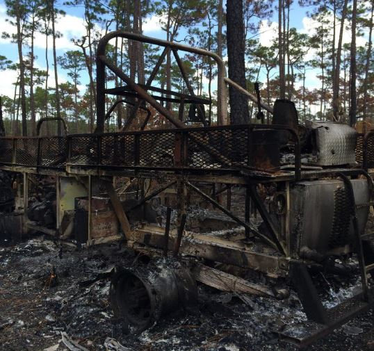 burned swamp buggy