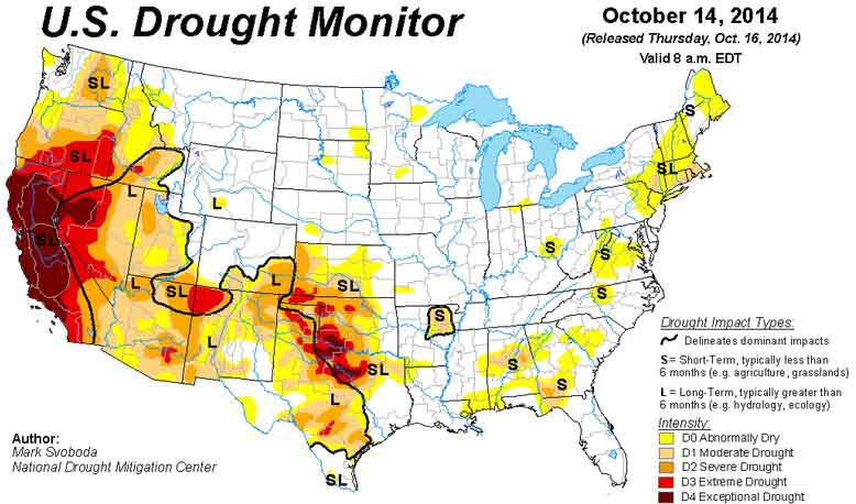 Drought Monitor, Oct 14, 2014