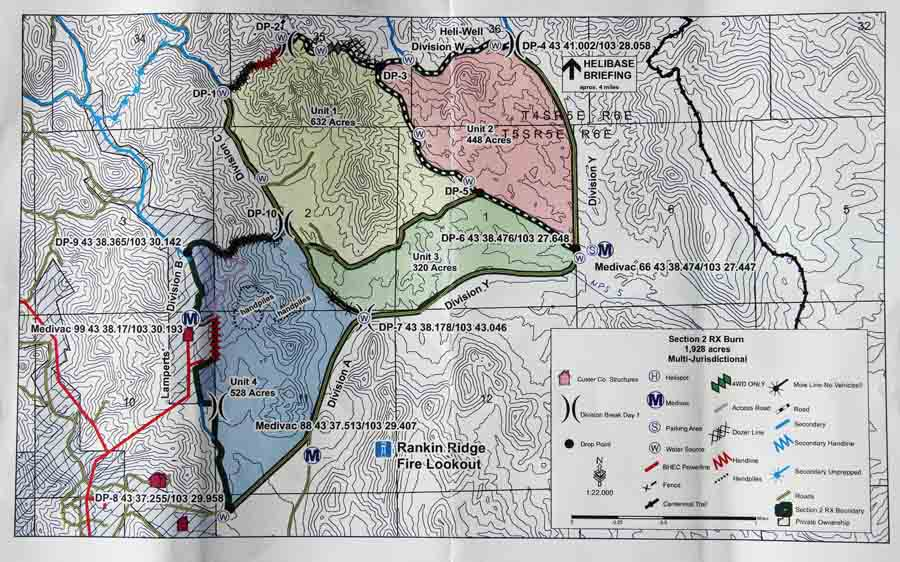 Map of the Norbeck prescribed fire