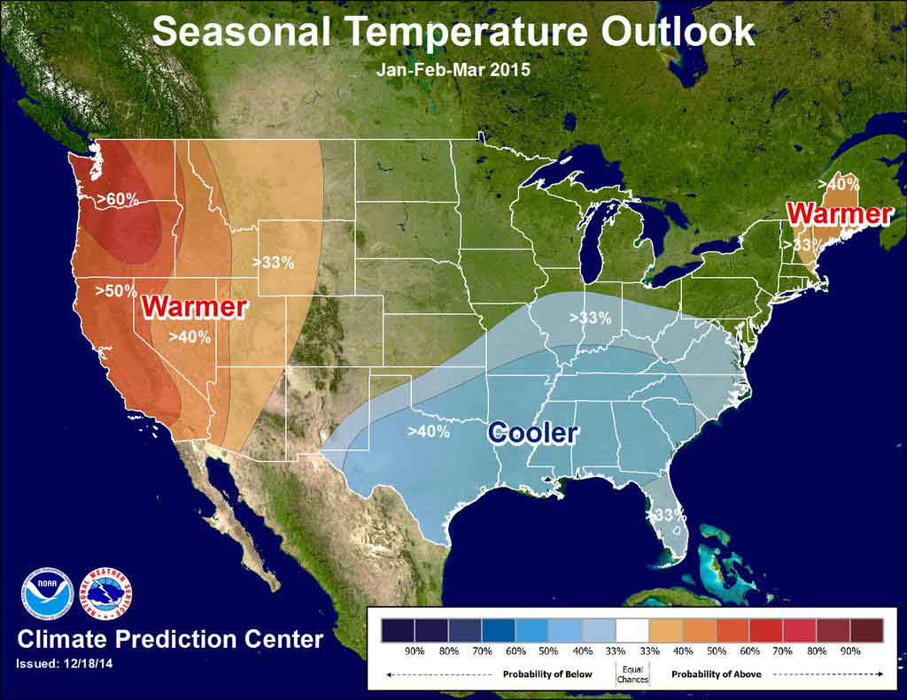 temperature outlook through March