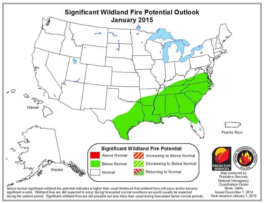 January wildfire potential