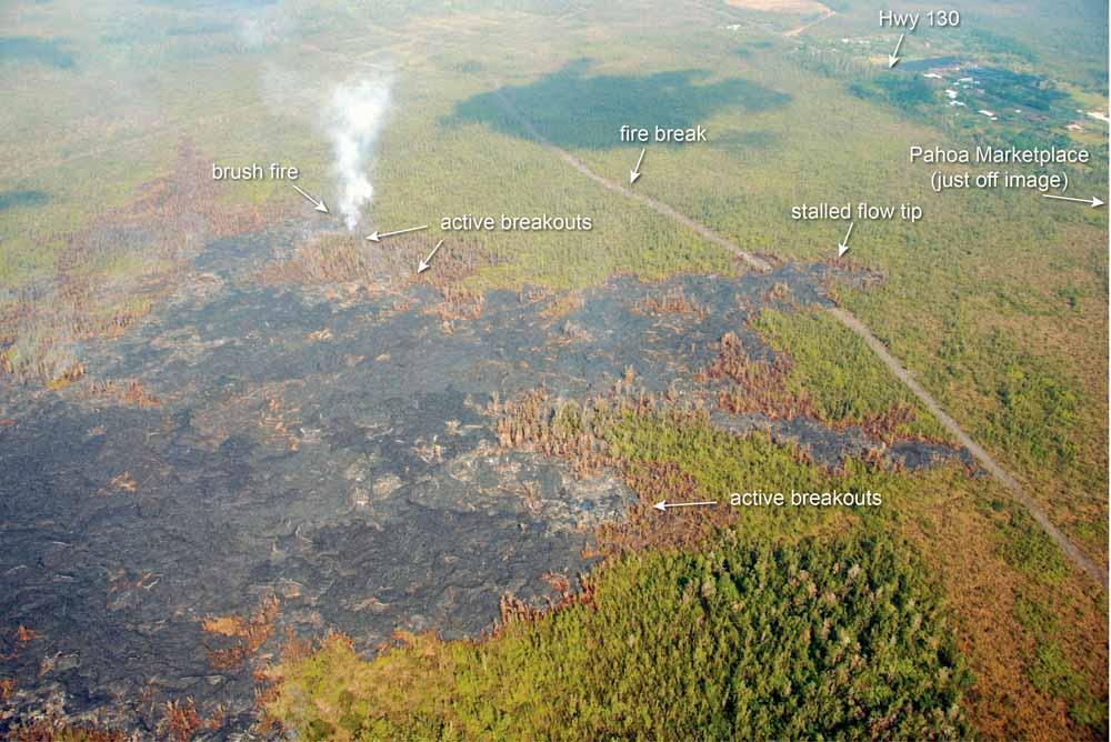 Kīlauea volcano in Hawaii brush fire