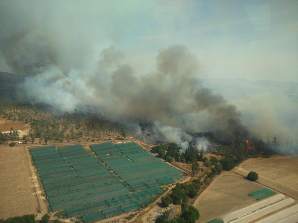 wildfire in the Casablanca Lagunillas area of Chile