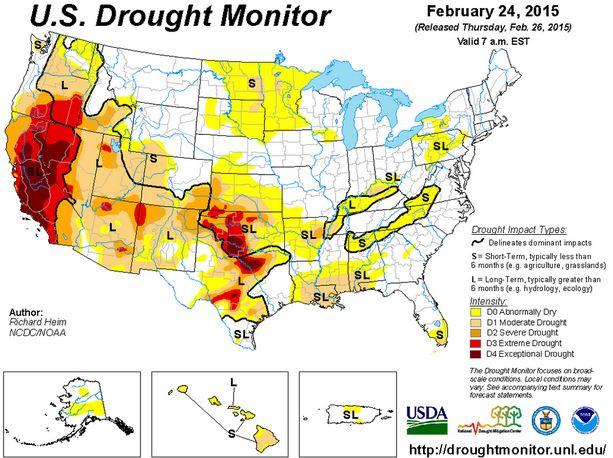 Drought Monitor, February 24, 2015