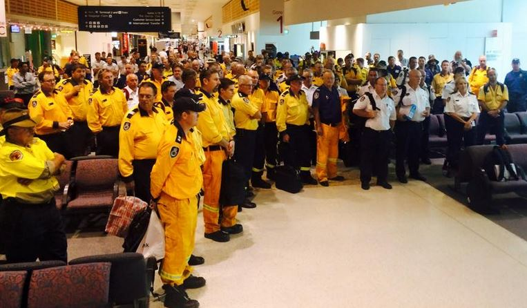 Firefighters at Sydney airport