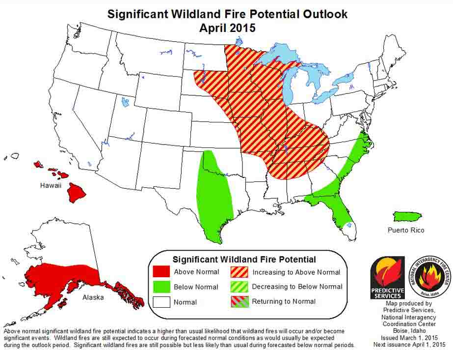 April wildfire potential