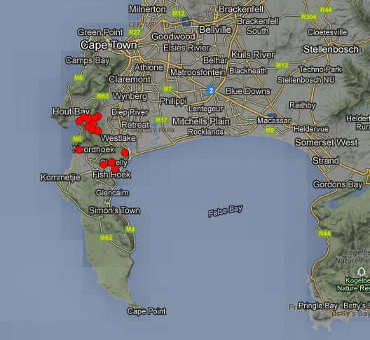map Cape Town wildfires