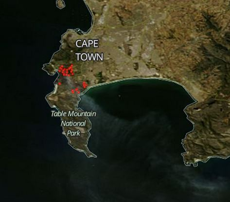 Map fires near Cape Town, South Africa