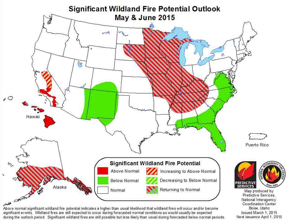 May June  wildfire potential