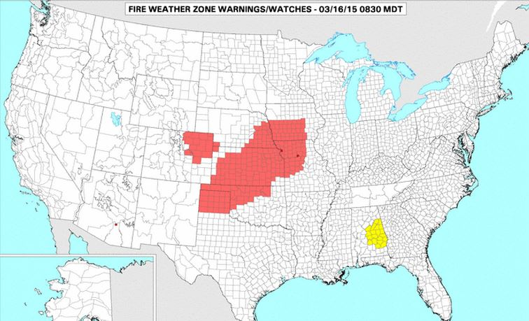 wildfire Red Flag Warning, 3-16-2015