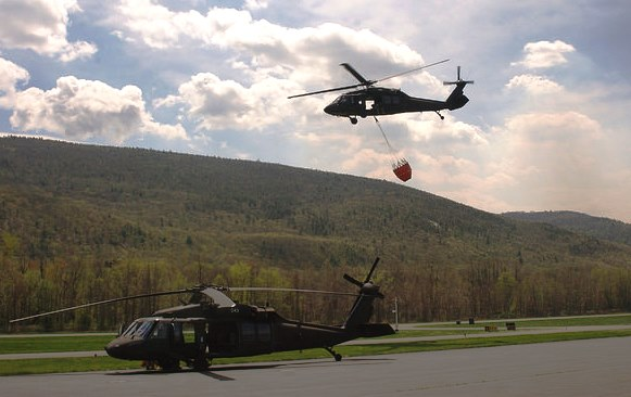 Two New York Army National Guard Blackhawk helicopters are assigned to the fire.  U.S. Army National Guard photo by Col. Richard Goldenberg.