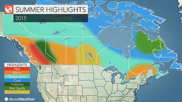 Portions of western Canada could be in for a hot, dry summer