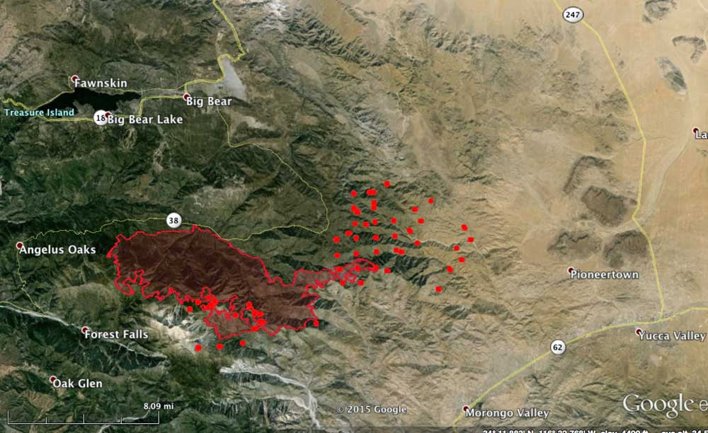 Lake Fire Map 1210 am PT June 25 2015   Wildfire Today