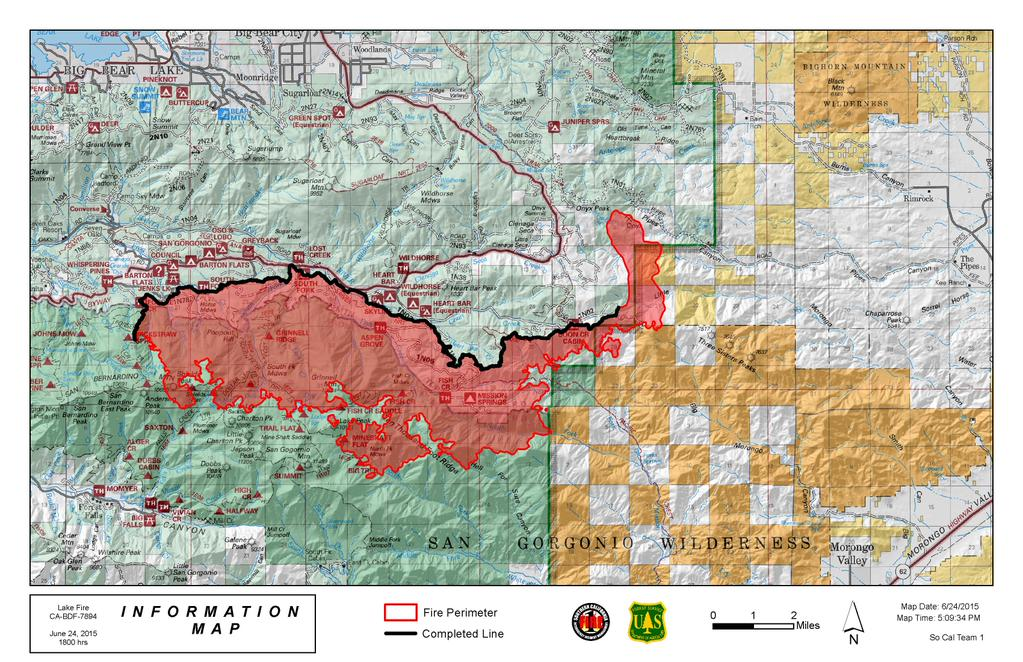 Lake Fire map June 24, 2015   Wildfire Today